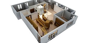 3D visual visualisatie interieur apotheek vogelvlucht render